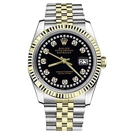 Rolex Datejust 2Tone Black Color String Diamond Accent Dial Womens 36mm Watch