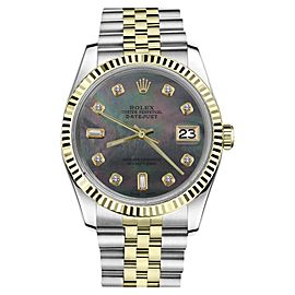 Rolex Datejust 2Tone Black MOP Mother Of Pearl with 8+2 Diamond Womens 36mm Watch