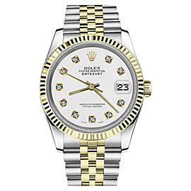 Rolex Datejust 2Tone White Color Dial with Diamond Accent Womens Watch 36mm