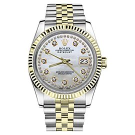 Rolex Datejust 2Tone White Mother of Pearl String Diamond Dial Womens Watch 26mm
