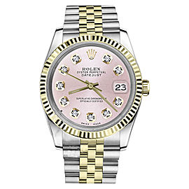 Rolex Datejust 2Tone Metallic Pink Diamond Dial 26mm Watch