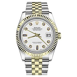 Rolex Datejust Two Tone White Color Dial Diamond Accent RRT 36mm Watch