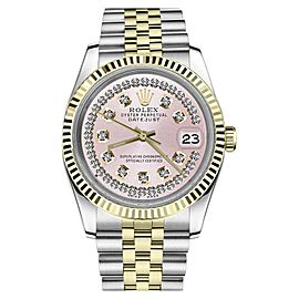 Rolex Datejust 2Tone Pink String Diamond Dial Style Marke Mens 36mm Watch