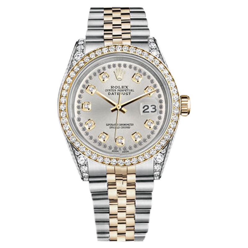 "Image of ""Rolex Datejust Stainless Steel and Gold Silver String Diamond Dial"""