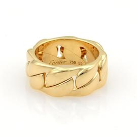 Cartier Fancy Curb Link 18K Yellow Gold Band Ring Size 6