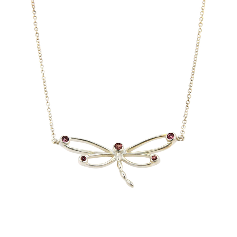 "Image of ""Tiffany & Co. Rhodolite Garnet Sterling Silver Dragonfly Pendant"""
