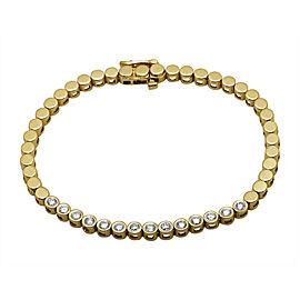 14K Yellow Gold One Row Solitaire Bezel 1.0ct Diamond Tennis Bracelet