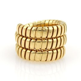 Bulgari 18K Yellow Gold Tubogas Flex Wrap Band Ring Size Medium