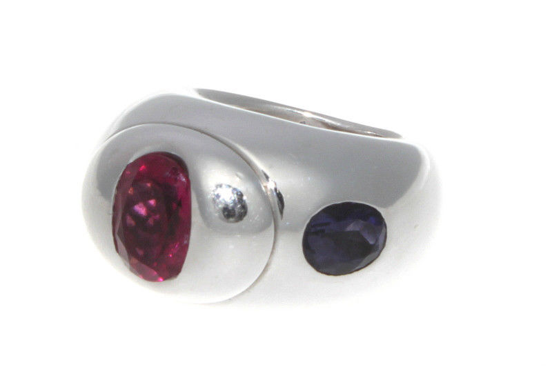 "Image of ""Christian Dior 18K White Gold Rubellite and Tanzanite Ring Size 6.5"""