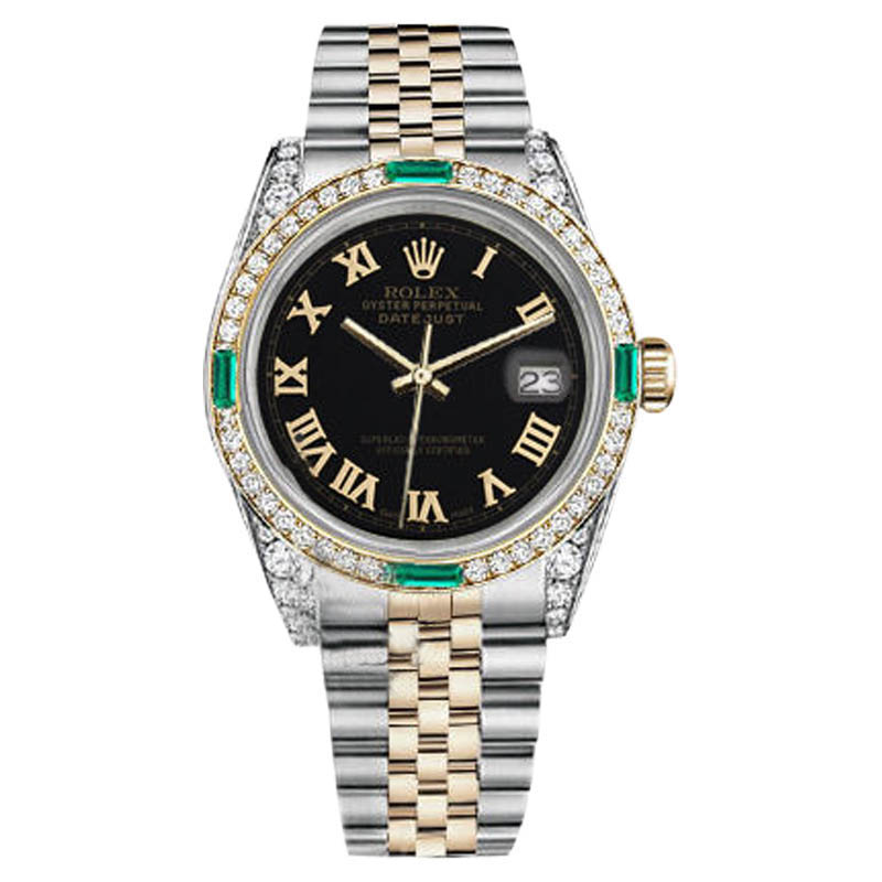 "Image of ""Rolex Datejust 18K Yellow Gold Stainless Steel Emerald and Diamond"""
