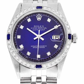 Rolex Oyster Perpetual Datejust 1601 Blue Vignette Stainless Steel & 18K White Gold Diamond Watch