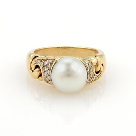 Bulgari 18K Yellow Gold Diamonds & Pearls Ring