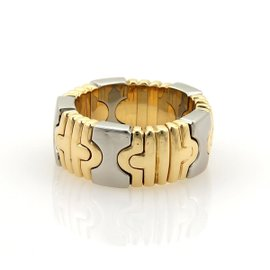 Bulgari 18K Yellow Gold & Stainless Steel Parentesi Flex Open Band Ring