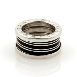 Bulgari B Zero-1 Biselovan 18K White Gold & Enamel Band Ring