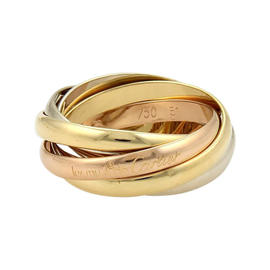 Cartier Trinity 18K Tri-Color Gold Rolling Bands Ring Size 5.75