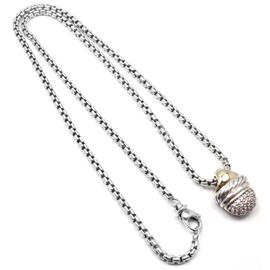 David Yurman 18K Yellow Gold Sterling Silver Diamond Acorn Necklace