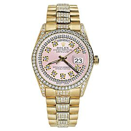 Rolex Presidential Day Date Vintage Pink Dial Diamond 18K Yellow Gold Mens Watch