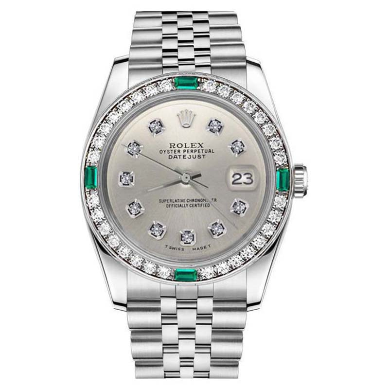 """Image of """"Rolex Datejust Stainless Silver Steel Emerald Color Diamond Dial 36mm"""""""