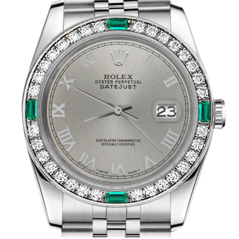 """Image of """"Rolex Datejust Stainless S/S Emerald Grey Roman Numeral Dial Womens"""""""