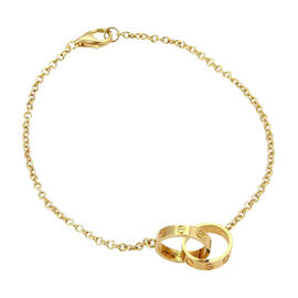 Cartier Mini Love 18K Yellow Gold Double Ring Charm Chain Bracelet Anklet