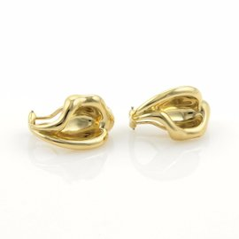 Tiffany & Co. 18K Yellow Gold Elsa Peretti Curved Leaf Clip On Earrings