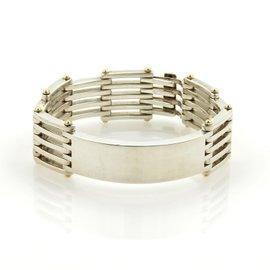 Tiffany & Co. Sterling Silver & 18K Yellow Gold ID Bar Gatelink Bracelet