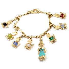 Pomellato 18K Yellow Gold Chalcedony Snow White Dwarves Charm Bracelet