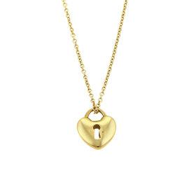Tiffany & Co.18K Yellow Gold Heart Pad Lock Pendant Necklace