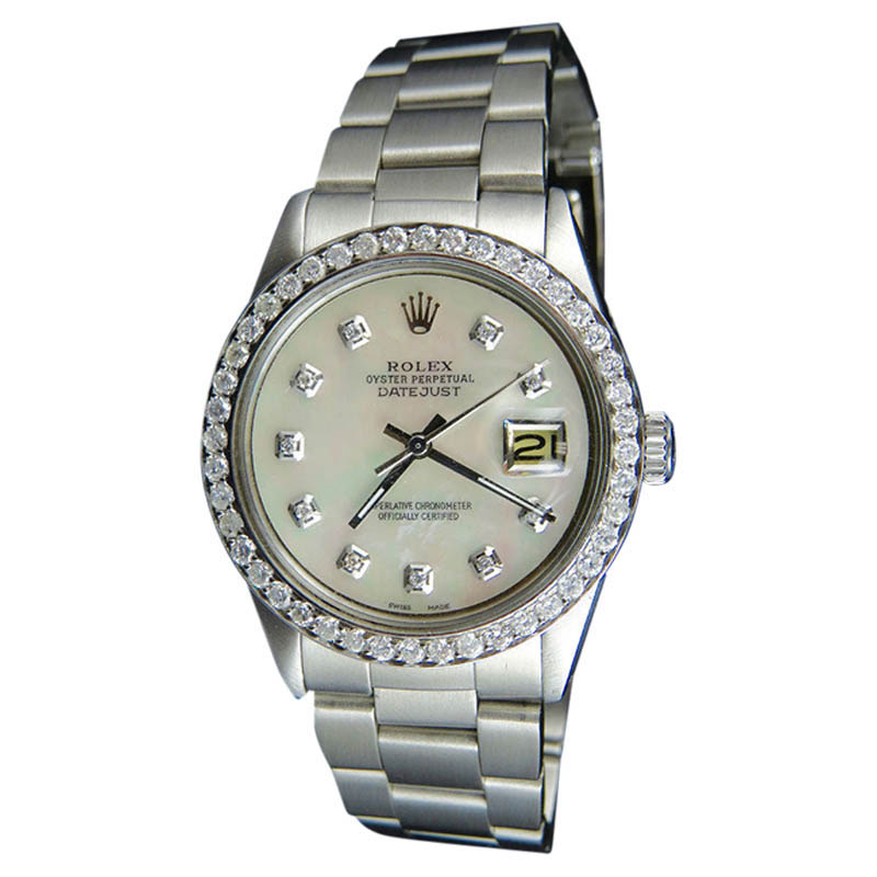 """Image of """"Rolex Datejust 1601 Oyster Stainless Steel Mother Of Pearl And Diamond"""""""