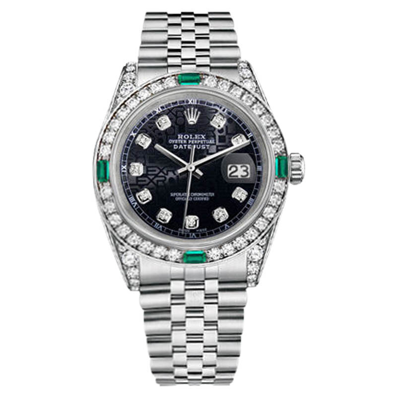 "Image of ""Rolex Datejust Steel Jubilee Black Color Emerald Diamond Womens 26mm"""