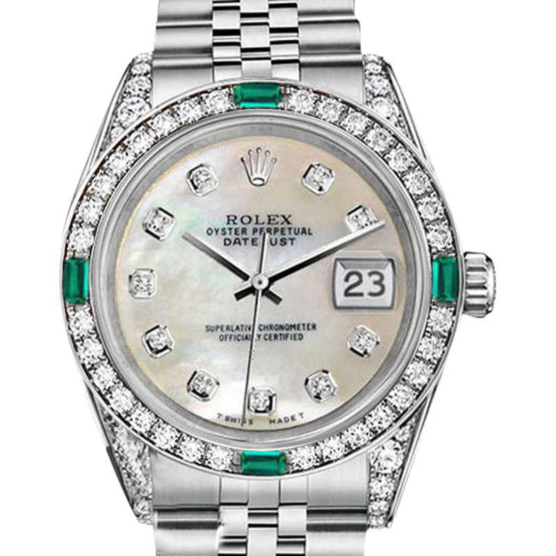 """Image of """"Rolex Datejust Stainless Steel White Mother Of Pearl Emerald and"""""""