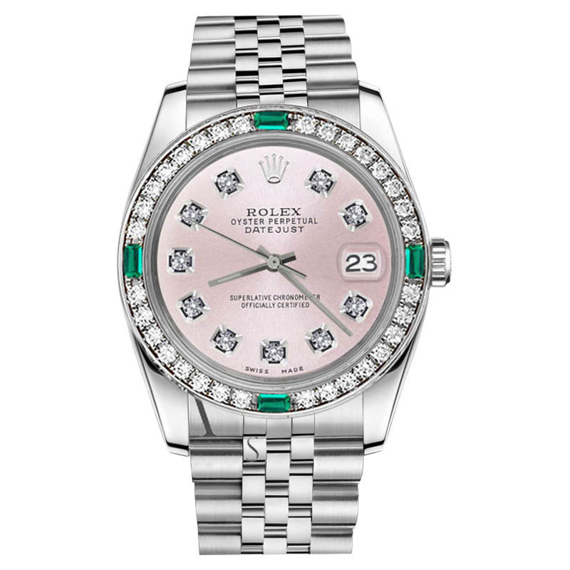 "Image of ""Rolex Datejust Stainless Steel Metallic Pink Diamond Emerald 31mm"""
