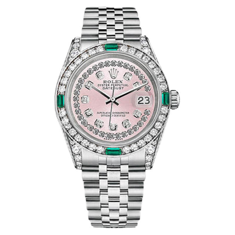 """Image of """"Rolex Datejust Stainless Steel Pink String Emerald Diamond Women's"""""""