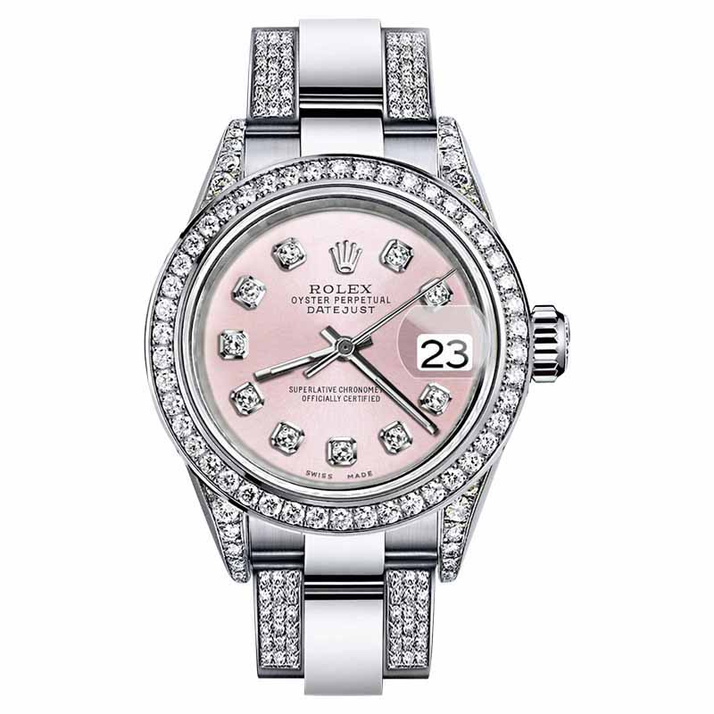 """Image of """"Rolex Oyster Perpetual Datejust Stainless Steel Diamonds Metallic Pink"""""""