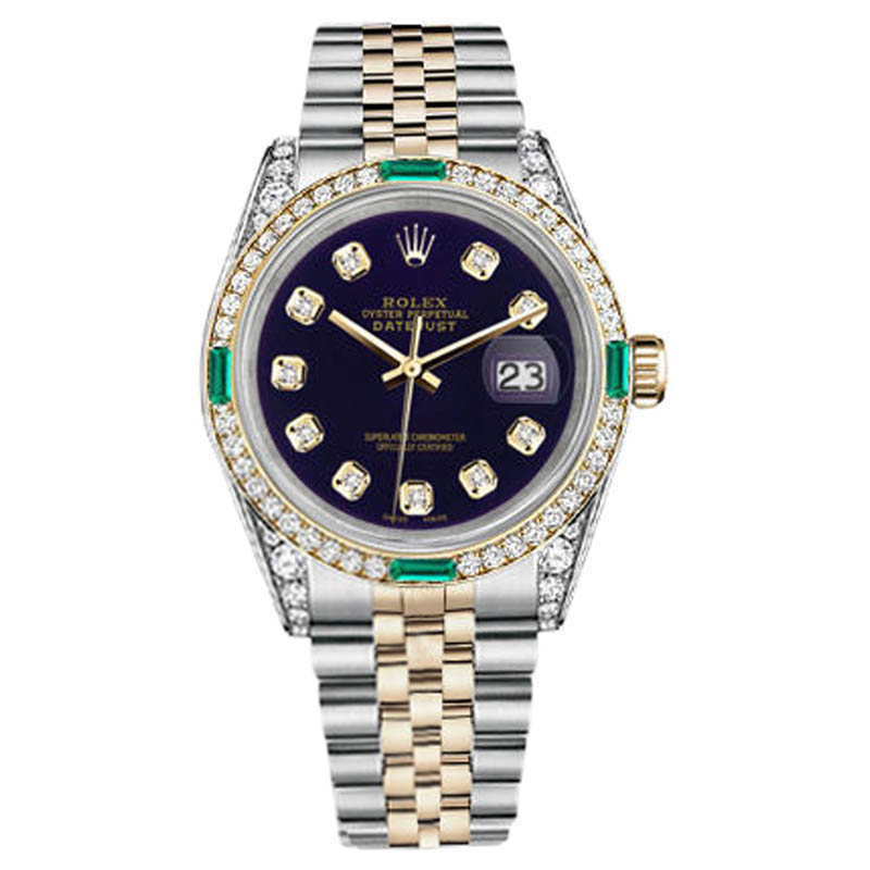 "Image of ""Rolex Datejust Steel and Gold Purple Diamond Emerald Dial Womens"""