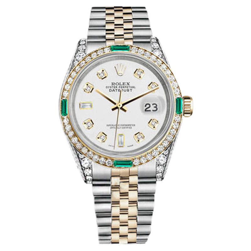 "Image of ""Rolex Datejust Steel and Gold White 8+2 Diamond Emerald Dial Watch"""