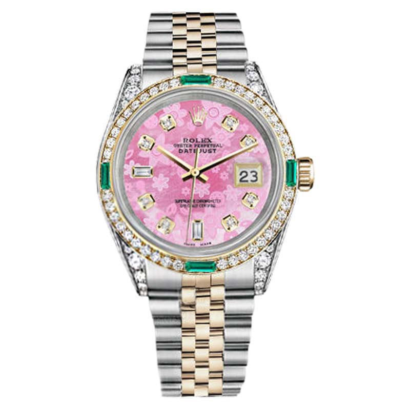 """Image of """"Rolex Datejust Steel-Gold Pink Flower Color Diamond Emerald Dial"""""""
