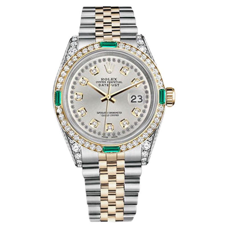 "Image of ""Rolex Datejust Stainless Steel-Gold Silver String Emerald Diamond Dial"""