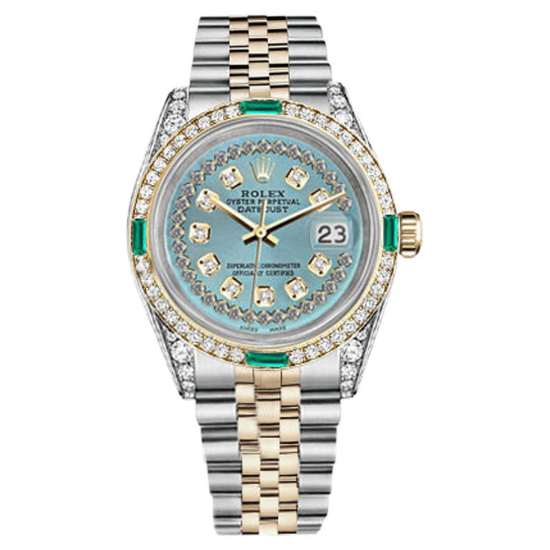 """Image of """"Rolex Datejust Steel-Gold Ice Blue String Emerald Diamond Dial Watch"""""""