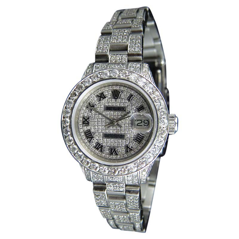 """Image of """"Rolex Datejust Oyster Full Iced Out Dial Diamond 27mm Watch"""""""