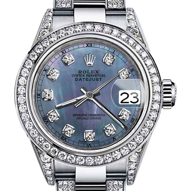 """Image of """"Rolex Oyster Perpetual Datejust Stainless Steel Diamonds Tone Tahitian"""""""