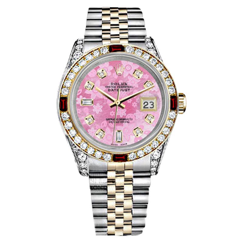 """Image of """"Rolex Datejust Steel Gold Pink Flower Color Dial Ruby & Diamond Bezel"""""""