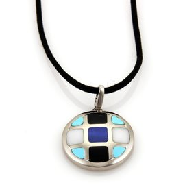 Cartier Pasha 18K White Gold Lapis Onyx Turquoise & Marble Cord Necklace