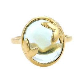 Tiffany & Co. 18K Yellow Gold Picasso Olive Leaf Blue Topaz Ring