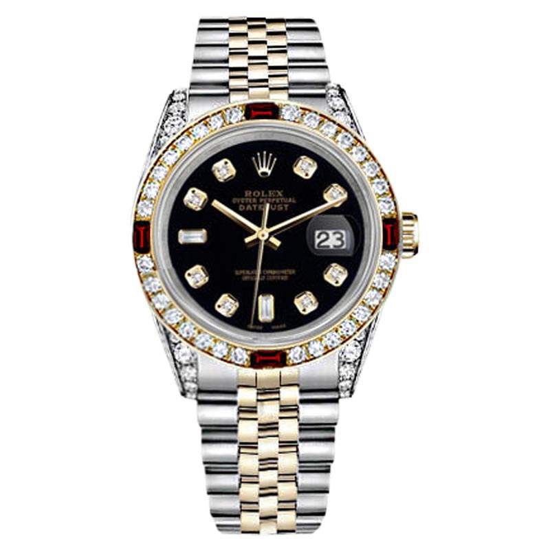 """Image of """"Rolex Datejust Two Tone Steel & Gold Black Dial Ruby & Diamond Womens"""""""