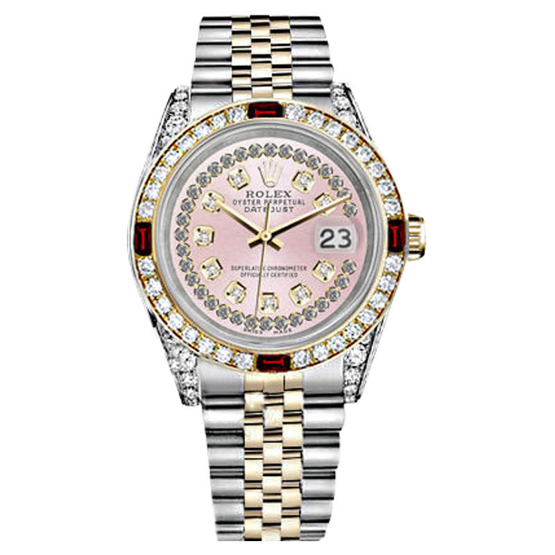"""Image of """"Rolex Datejust Steel & Gold Pink String Dial Ruby & Diamond Bezel"""""""