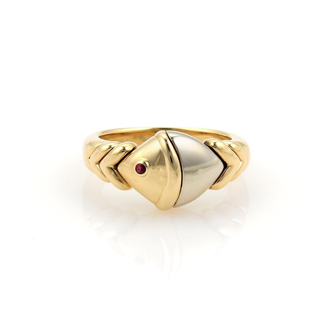 "Image of ""Buglari 18K Two Tone Gold Naturalia Ruby Fish Ring Size Medium"""