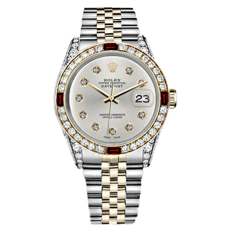 "Image of ""Rolex Datejust 2Tone Silver Dial Ruby & 10 Round Diamond Accent Unisex"""