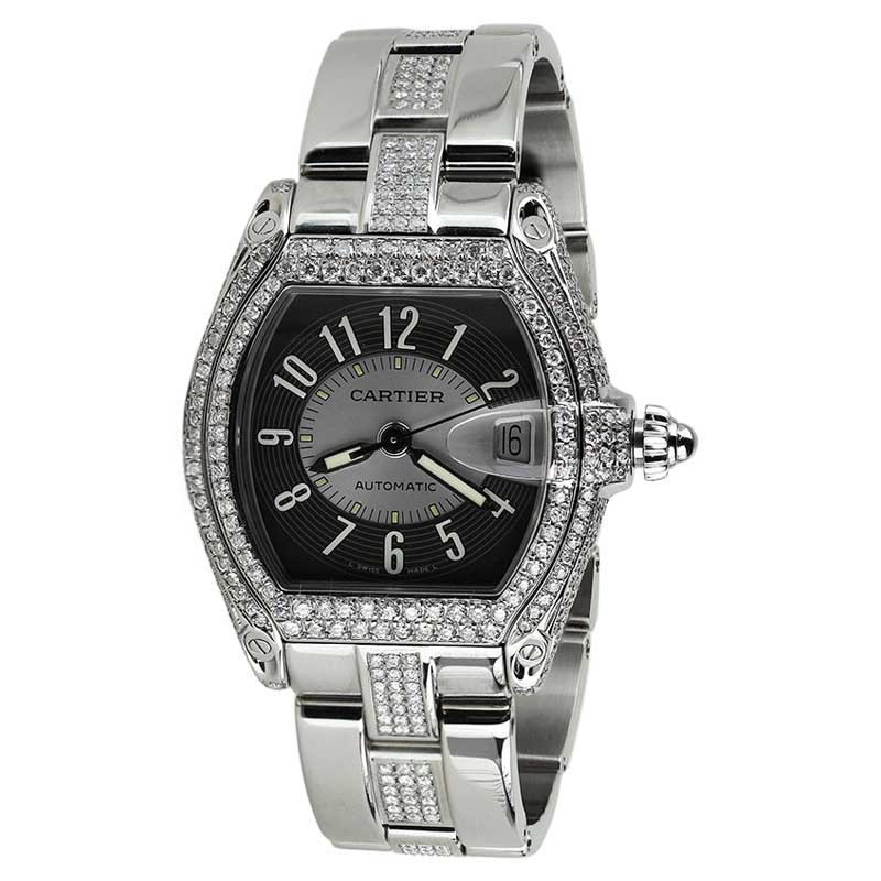 "Image of ""Cartier Roadster Black Diamond Dial Stainless Steel Unisex Watch"""