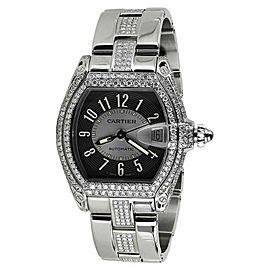 Cartier Roadster Black Diamond Dial Stainless Steel Unisex Watch